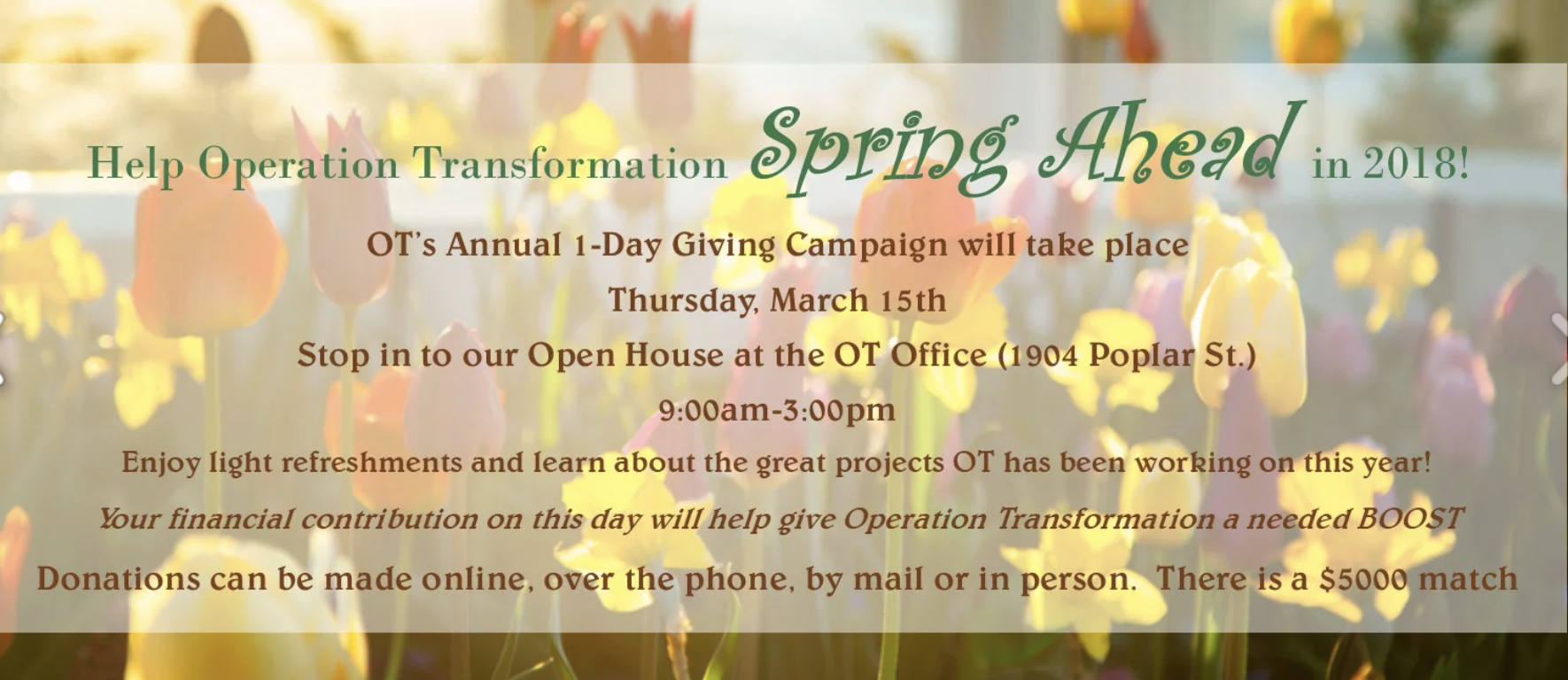 Spring Forward to Operation Transformation