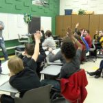 Tim Lelito speaks to students at Holland Woods